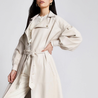 River Island White Faux Leather Studded Belt Trench Coat, €134 https://bit.ly/34VT3sO
