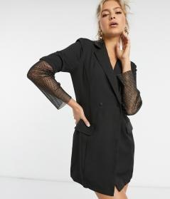 Saint Genies Tuxedo Blazer Dress with Diamonte Net Sleeve Detail, €80.99 https://bit.ly/3jVaNsT