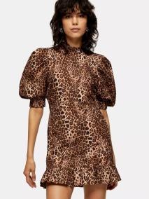 Topshop Leopard Print Puff Sleeve Mini Dress, €49 https://bit.ly/34Wrccb