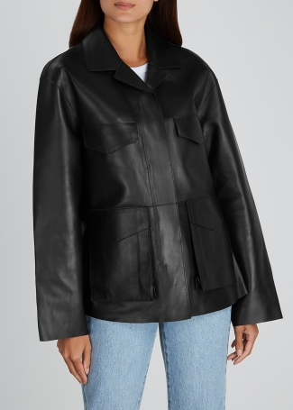 Totême Avignon Black Leather Jacket, €1,750 https://bit.ly/3jir7DM