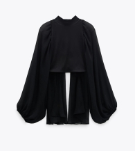 Zara Contrast Balloon Sleeves Crop Top, €25.95 https://go.zara/3hRk2cV