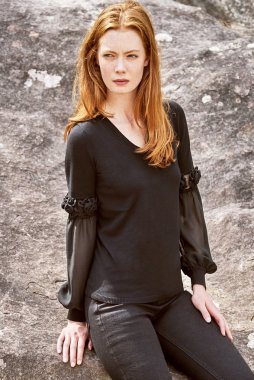 Alyson Gray Leo & Ugo Black V Neck Knit Jumper With Mesh Sleeves, €135 https://bit.ly/3jre3vm