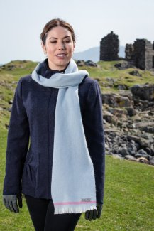 Foxford Willow Blue & Cerise Lambswool Scarf, €23 https://bit.ly/2FWnULM