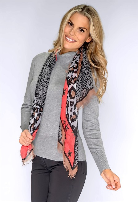 Pamela Scott Betty Barclay Grey Leopard Print Scarf, €39.95 https://bit.ly/3oGazbZ