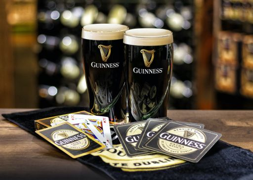 Carroll's Irish Gifts Official Guinness Home Bar Pack with Mats, Glasses, Towel & Cards, €20 https://bit.ly/36174V6