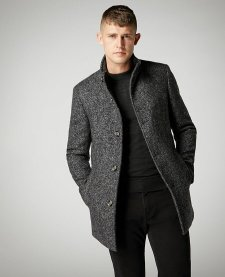 Diffney Remus Uomo Grey Tapered Fit Wool-Mix Overcoat, €279 https://bit.ly/3mXmKjh